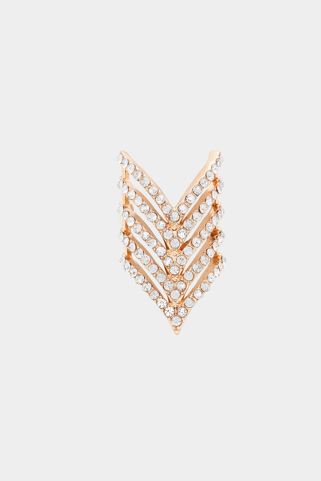 Chevron Pattern Crystal Stretch Ring