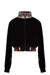 Ilona Rich Black Velvet Sequin Detail Long Jacket