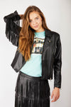 Black Faux Leather Fringe Jacket