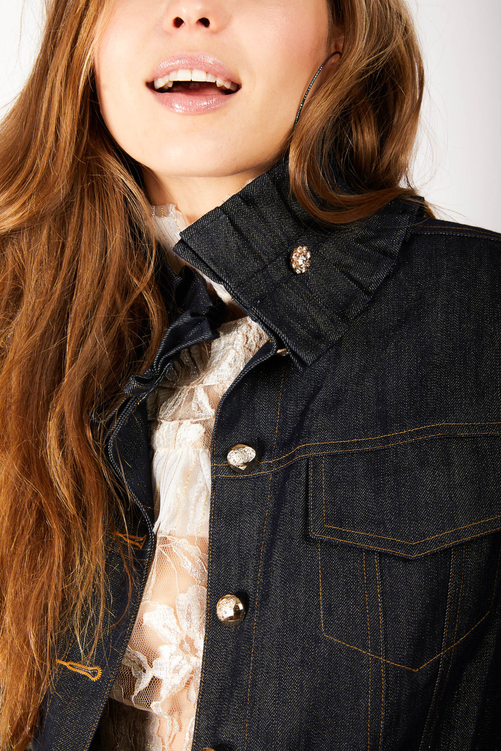 Ruffle Denim Jacket with Gold Detail