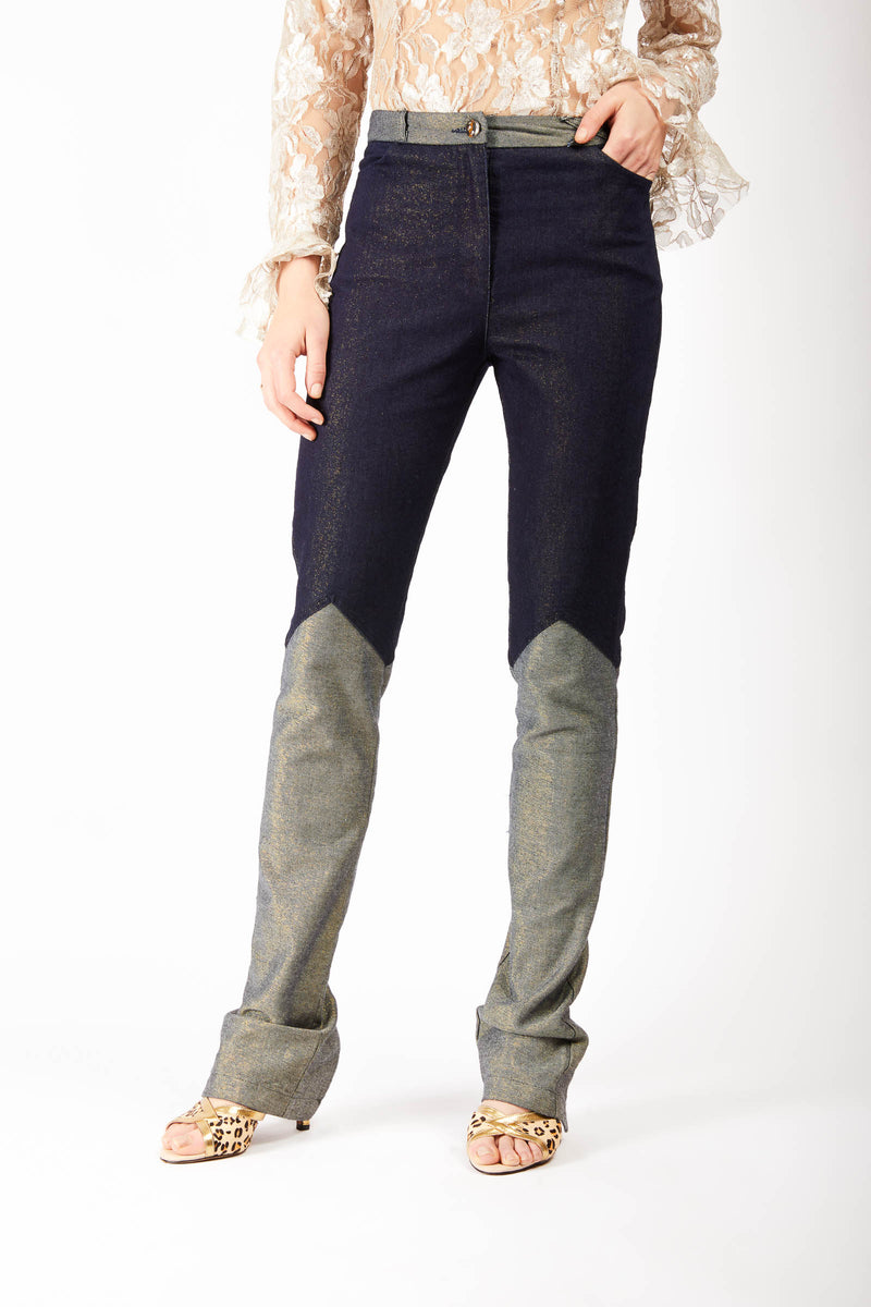 Two Tone Back Zip Jeans