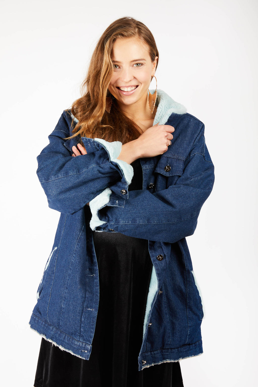 Unisex Blue Faux Fur Denim Jacket