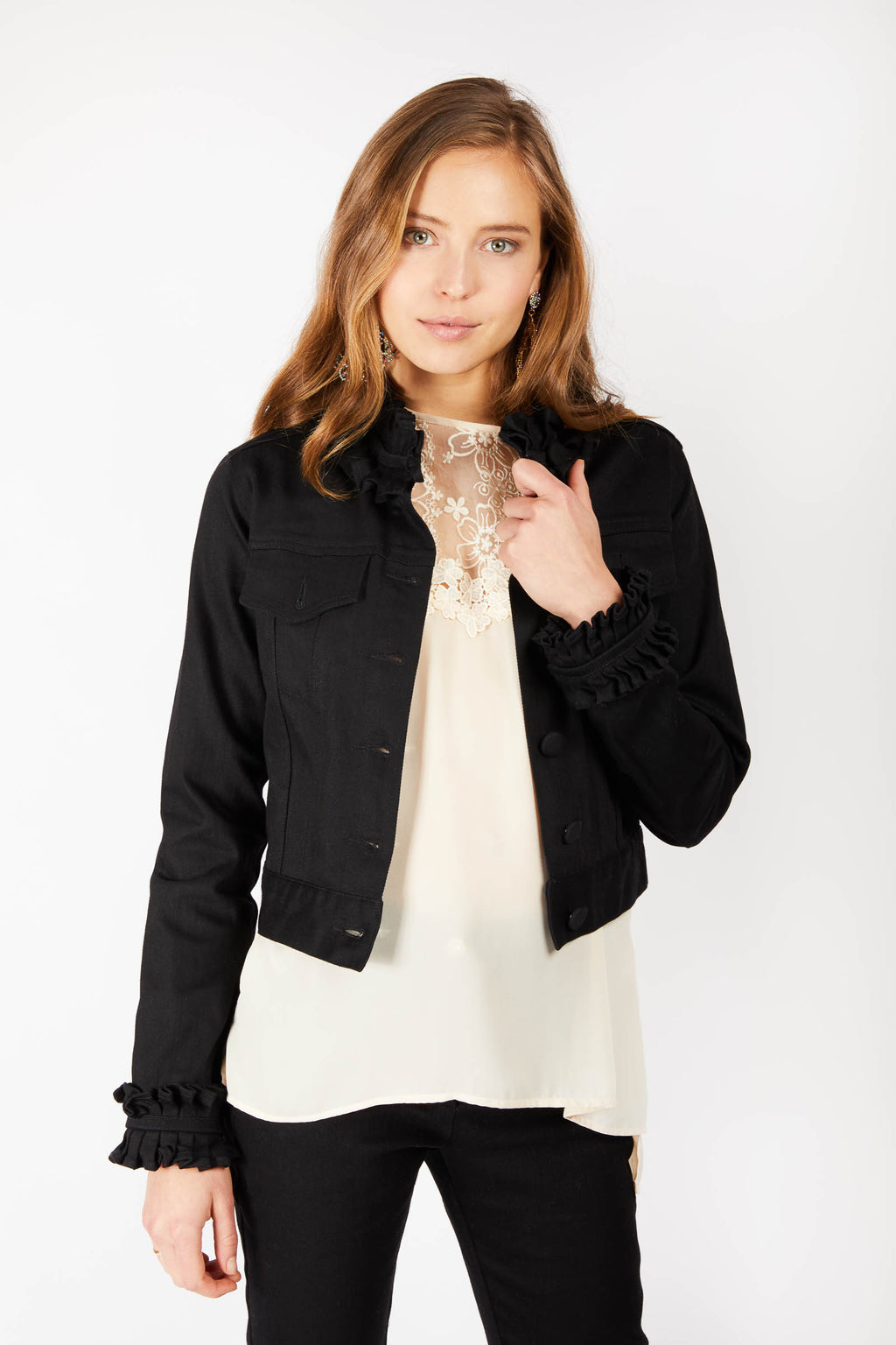 Black Ruffle Denim Jacket