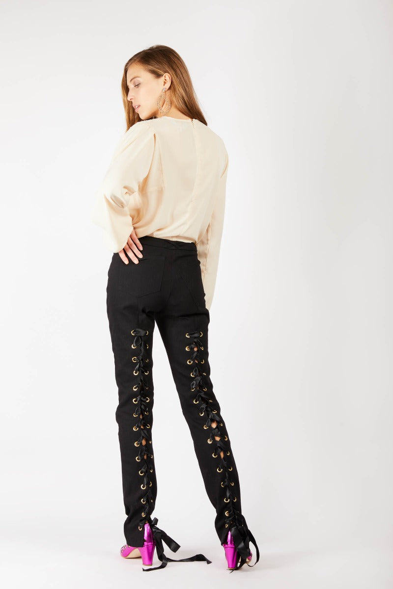 Black Lace-up Skinny Jeans