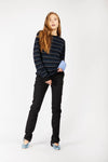 Navy Blue Striped Cashmere Jumper