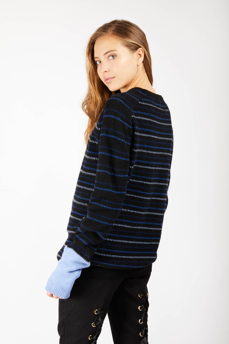 Navy Blue Striped Cashmere Jumper-Large