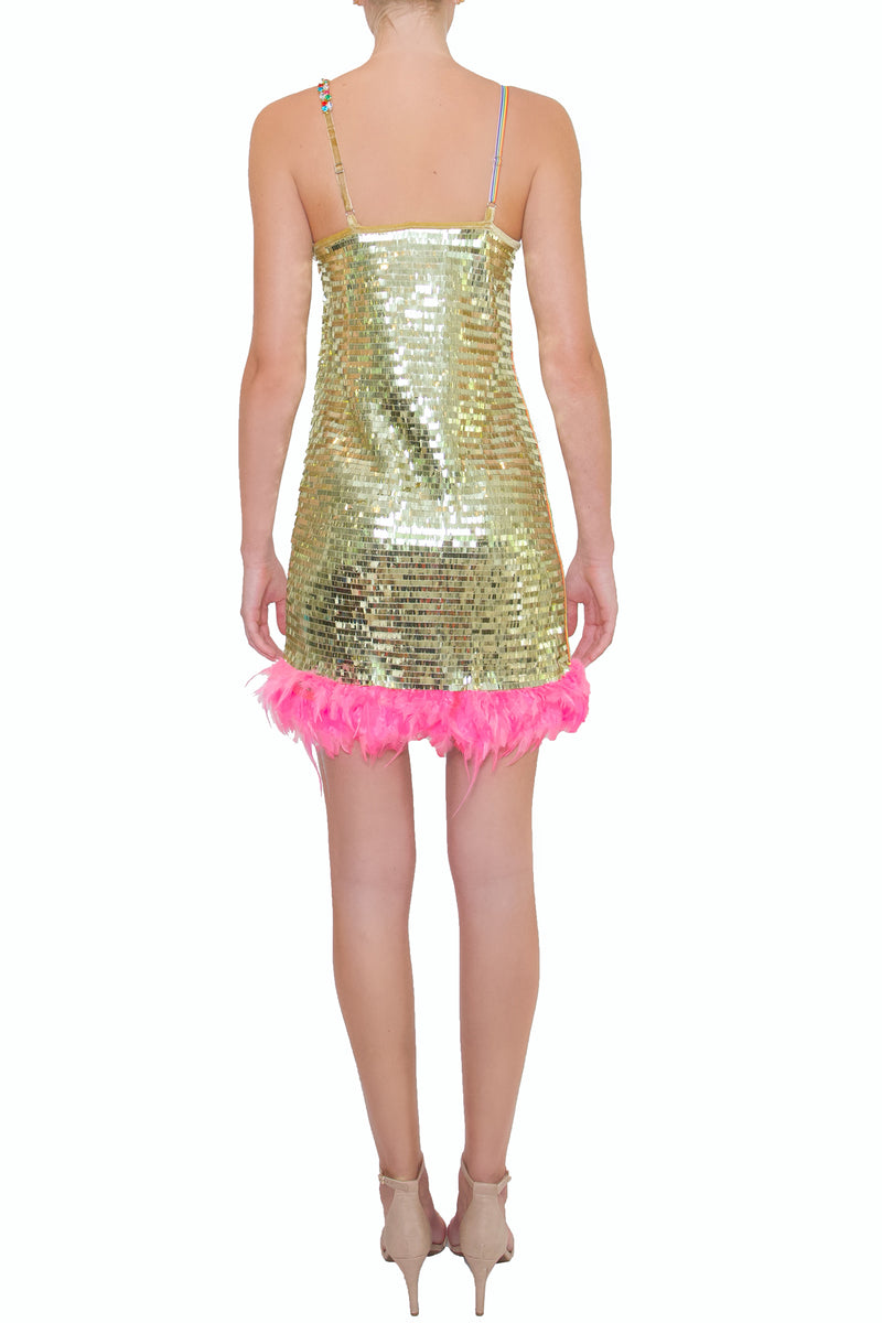 Pink Feather Sequin Party Dress