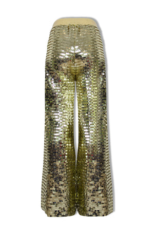 Ilona Rich Gold Squared Sequin Wide Leg Trousers