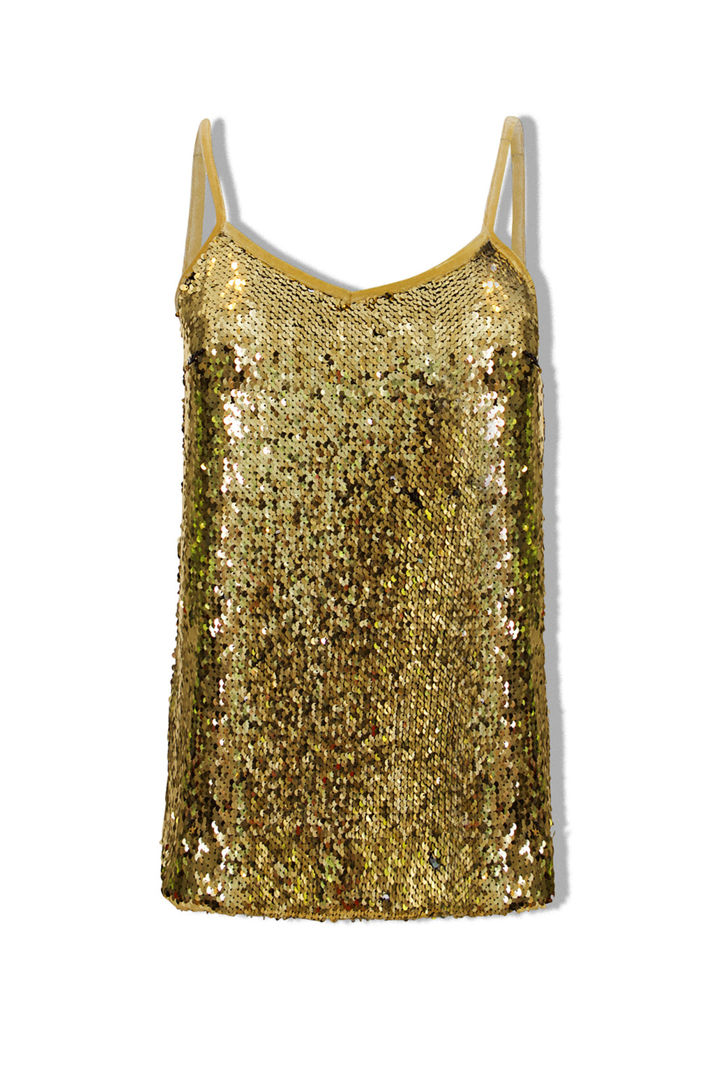 Ilona Rich Gold Sequin Cami Top
