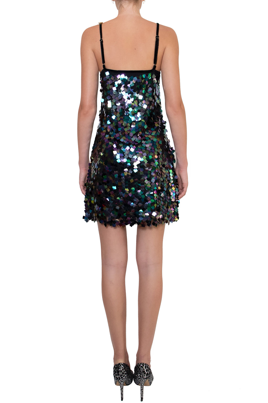 Ilona Rich Embellished Sequin Metallic Iridescent Dress