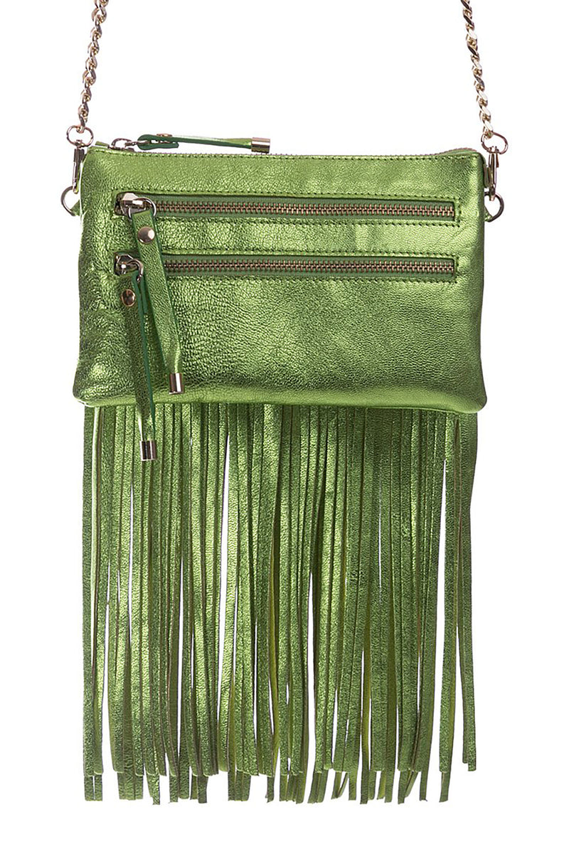 Green Metallic Leather Bag with Detachable Tassels