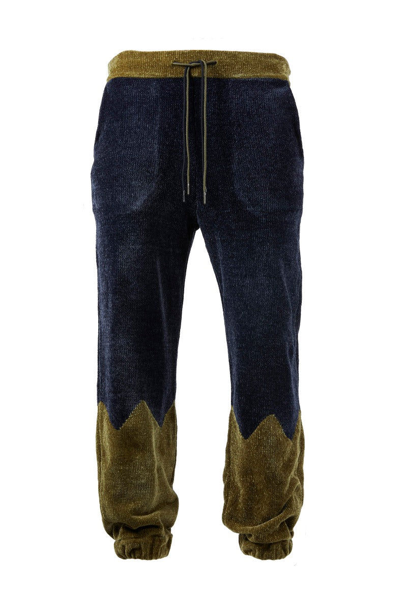 Adrian Unisex Navy and Green Chenille Track Bottoms