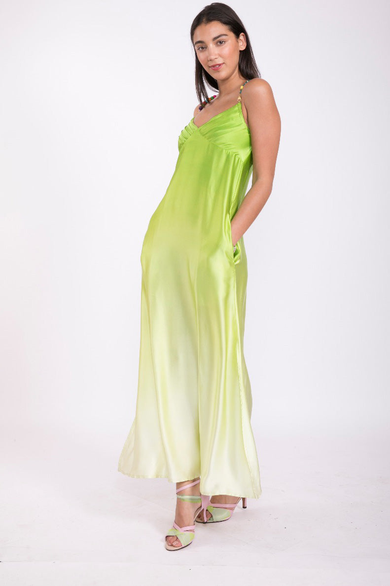 Green Flower 100% Silk Maxi Dress