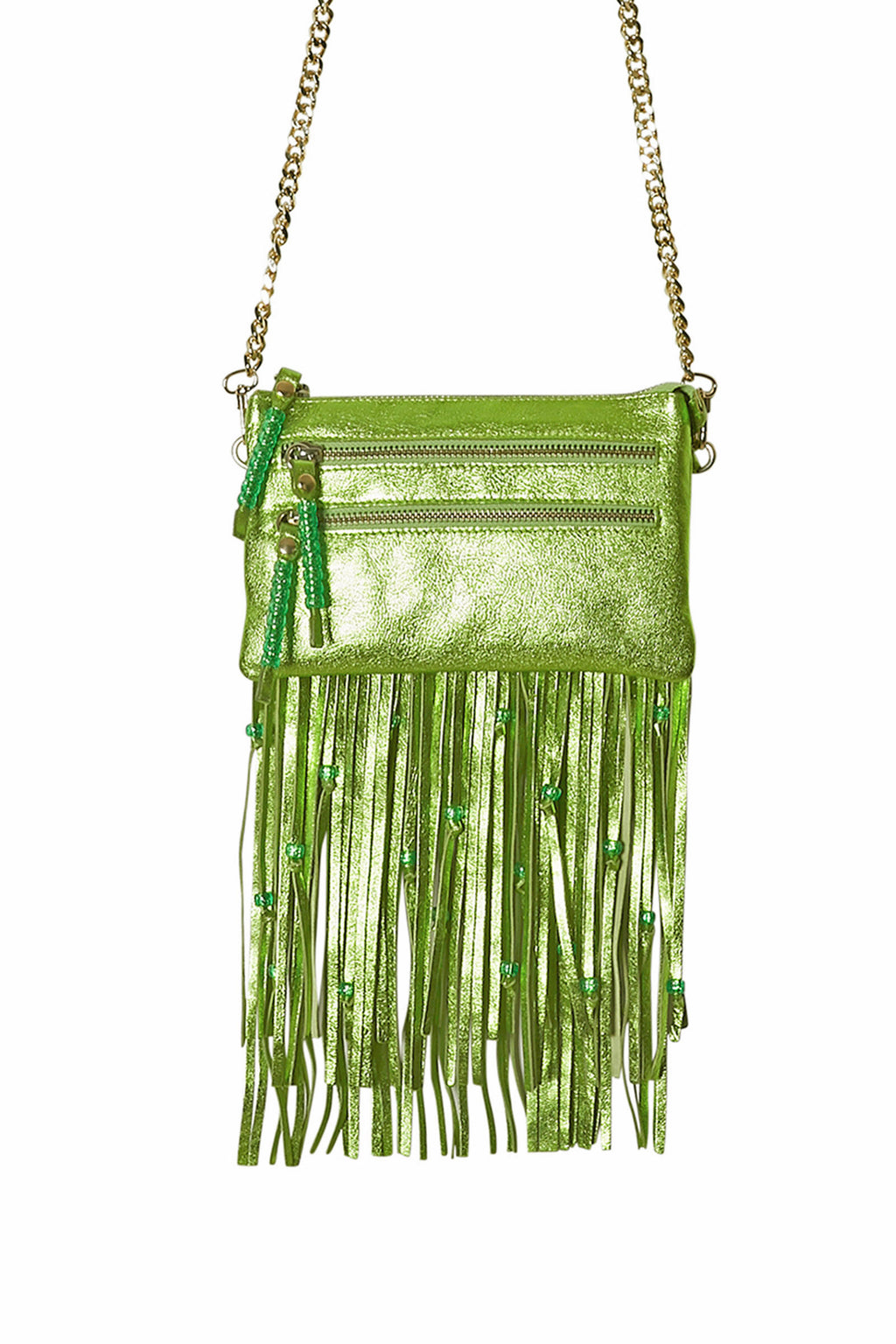 Green Leather Tassels and Zip Puller Set for Tassel Bags