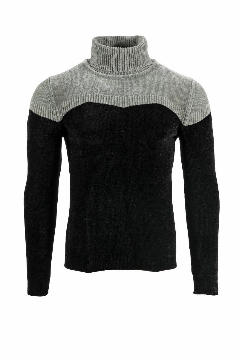 Adrian Unisex Grey and Black Chenille Turtleneck Sweater