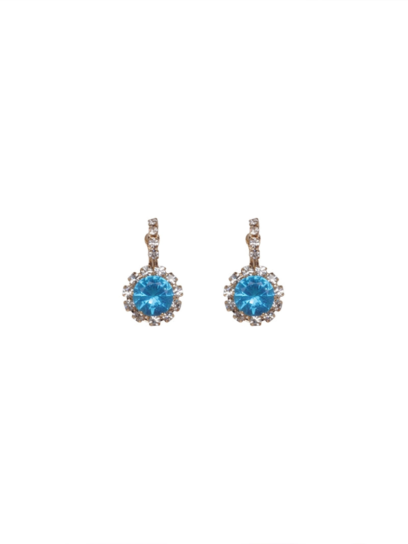Diamante Earrings with Bright Blue Stones