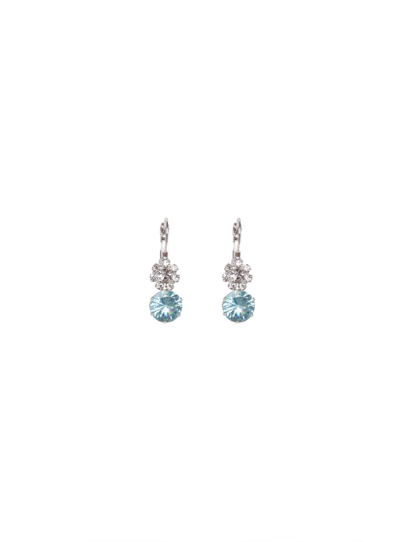 Sparkly Diamante Drop Earrings with Blue Stone