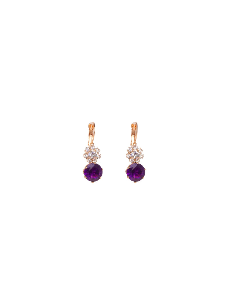 Gold Earrings with Crystals and Amethyst Stone