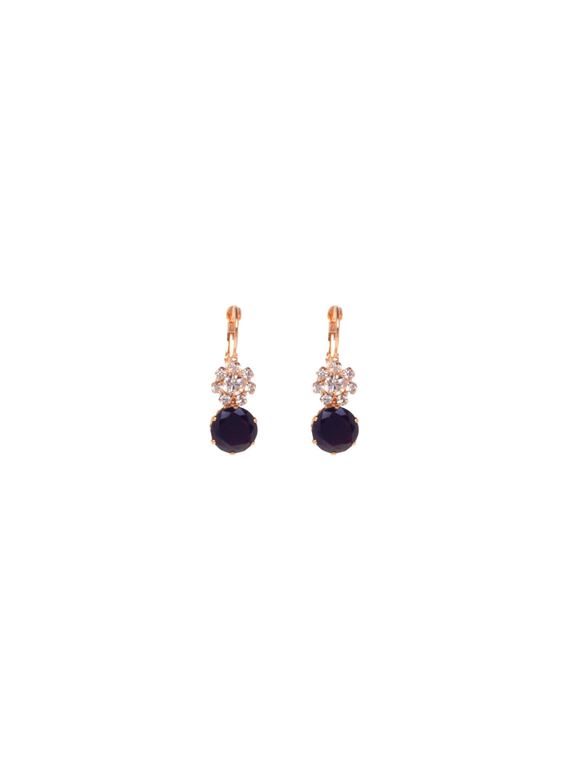 Gold Earrings with Crystals and Black Stone