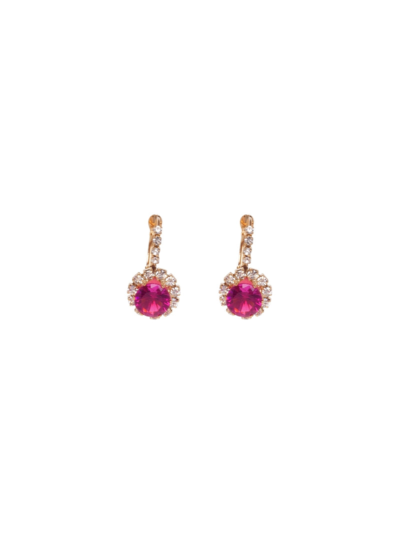 Gold Earrings with Diamante and Fuchsia Stones