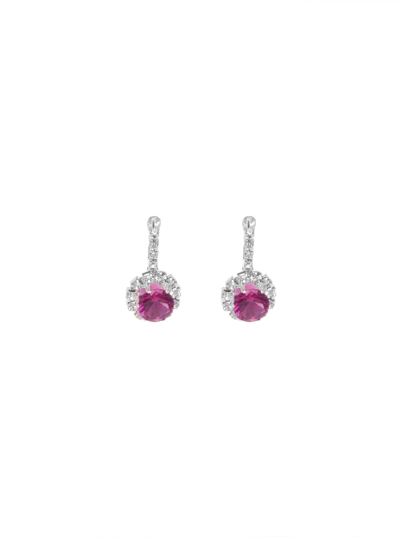Silver Diamante Earrings with Hot Pink Stone
