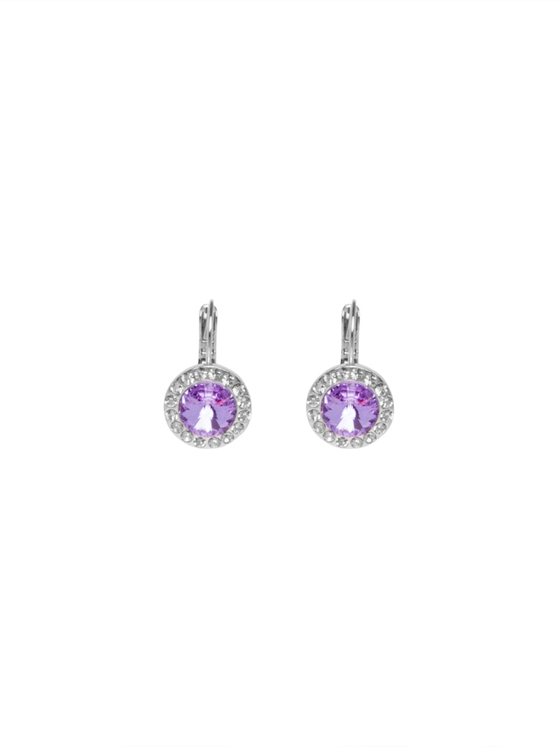 Silver Earrings with Crystal and Round Lilac Stone