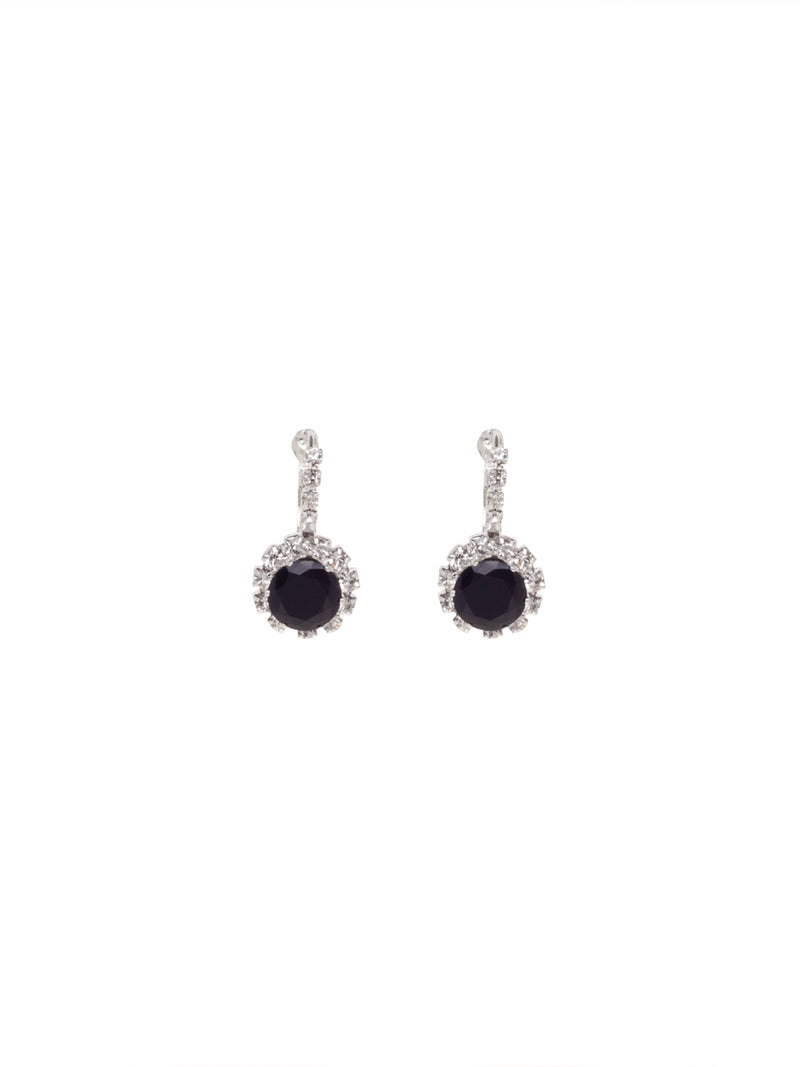 Silver Earrings with Crystals and Round Black Gem