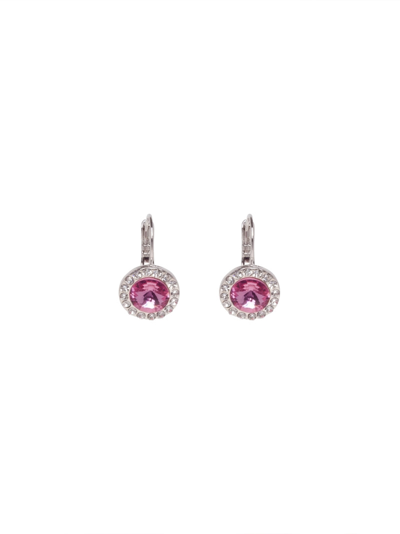 Silver Earrings with Crystals and Round Pink Stone