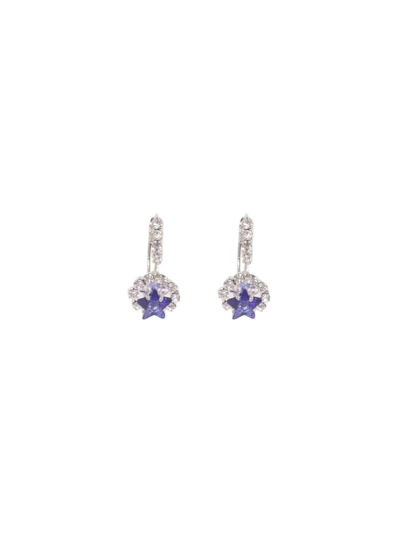 Silver Diamante Earrings with Blue Star Gem