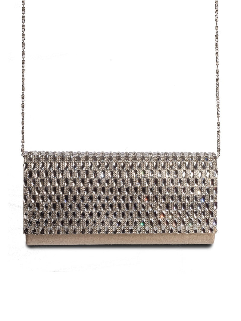 Embellished Fold Over Metallic Clutch Bag