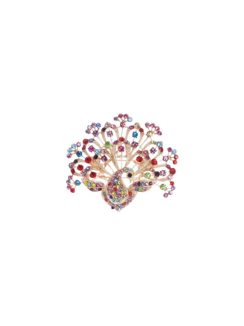 Bekasi Multi Coloured Peacock Brooch