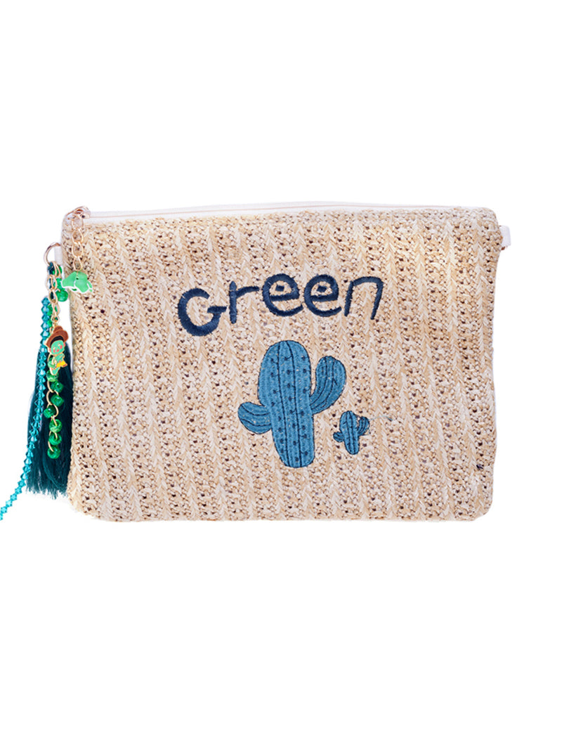 Ilona Rich Cactus Detail Straw Clutch Bag