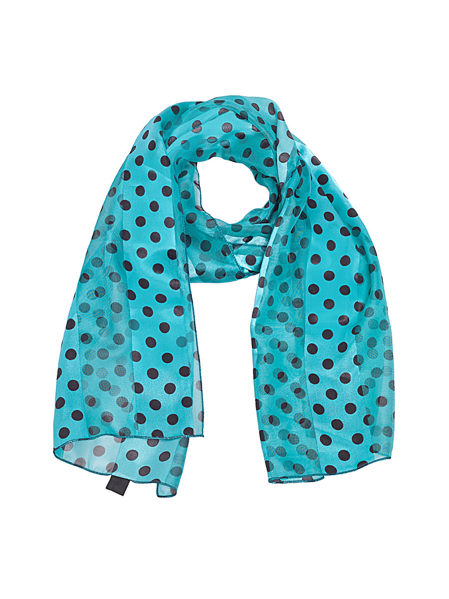 Polka Dot Scarf in Blue and Black