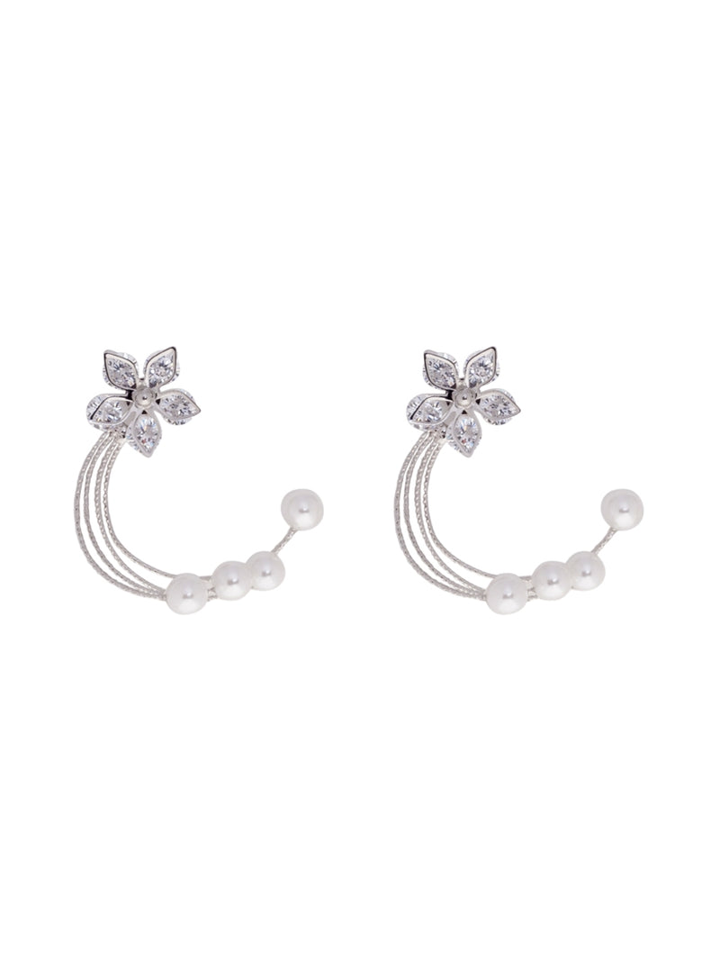 Floral Pearl Diamante Earrings