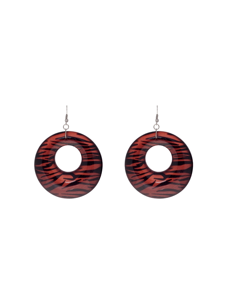 Animal Print Plastic Hoop Earrings