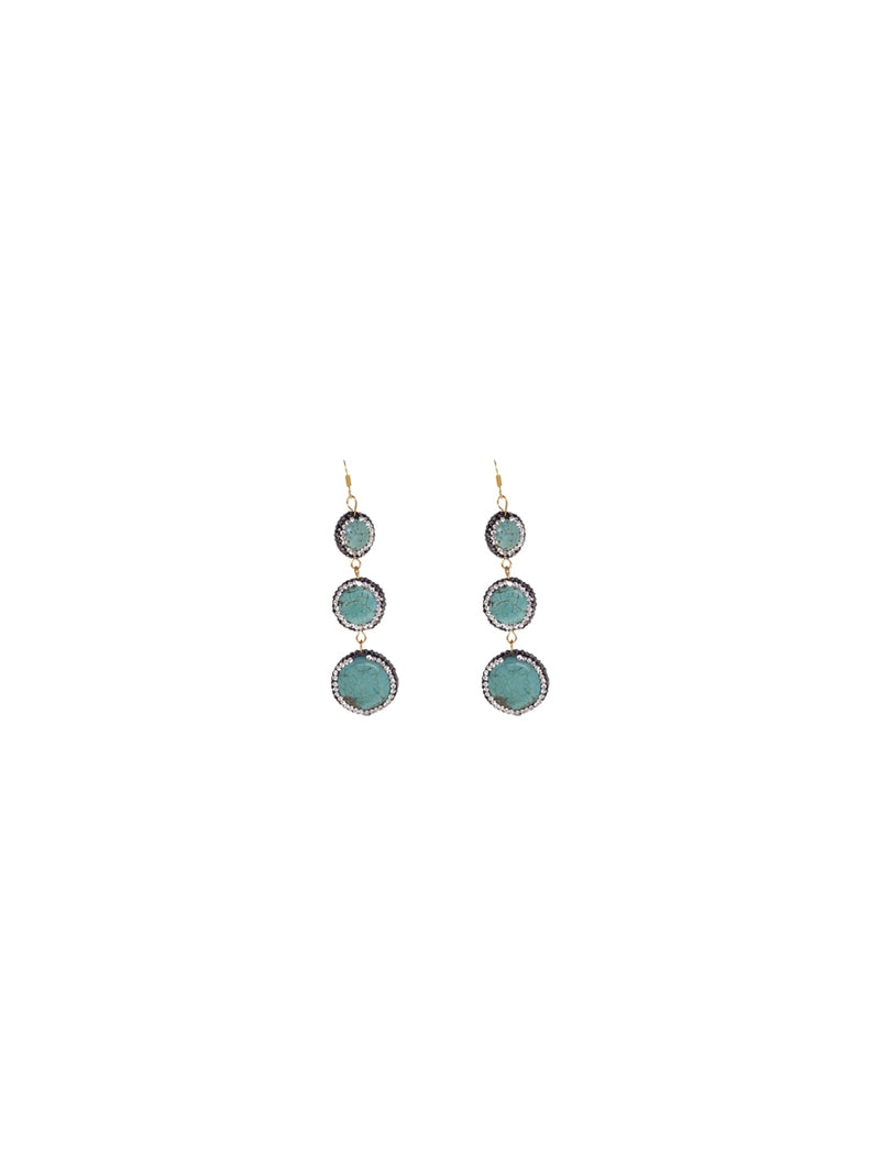 Circular Drop Earrings with Turquoise Stone Detail