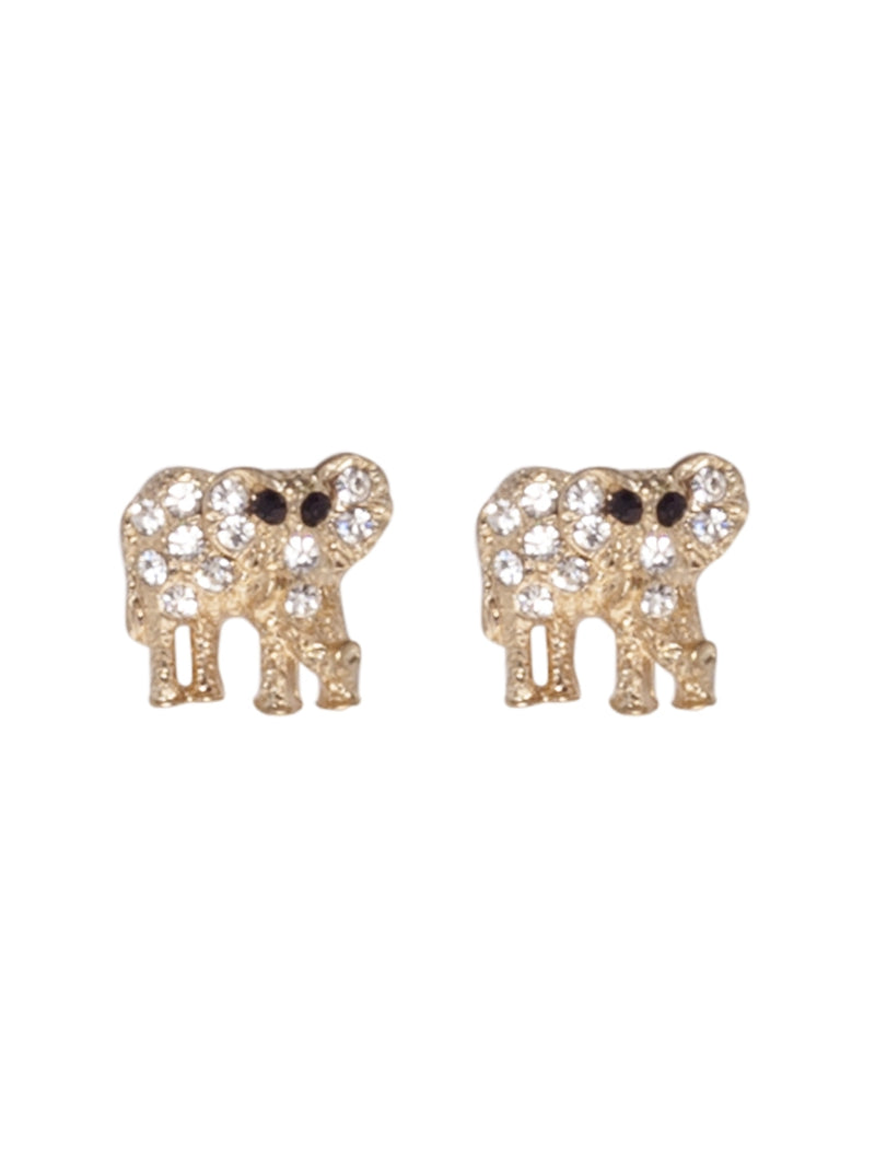 Gold Elephant Shaped Studs with Diamante Detail