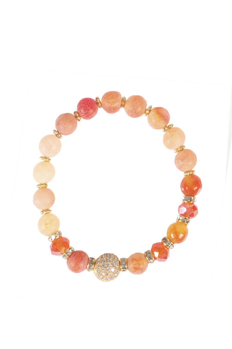Coral Bead Stretch Bracelet
