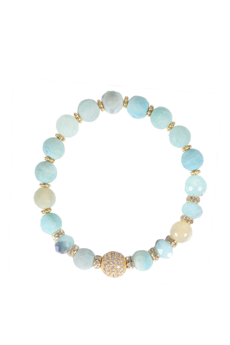 Light Blue Bead Bracelet with Crystal Charm