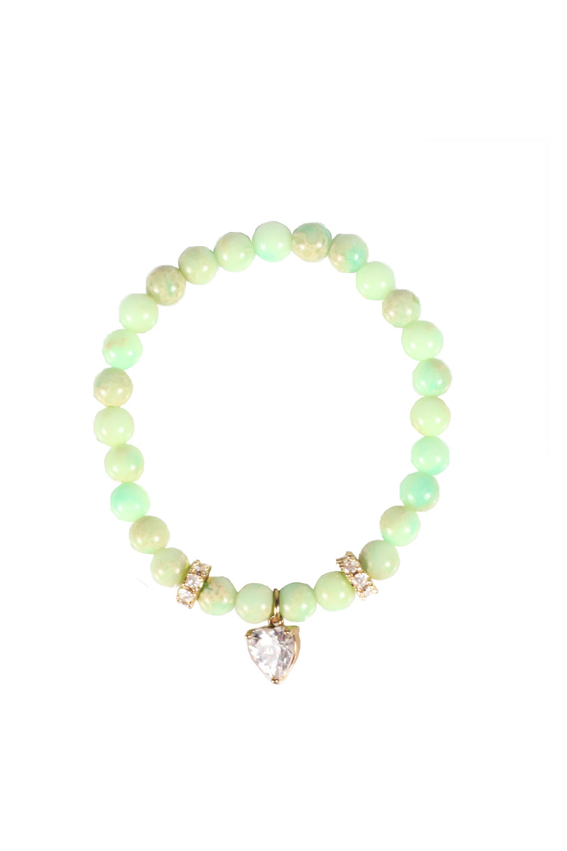 Light Green Bead Stretch Bracelet with Charm
