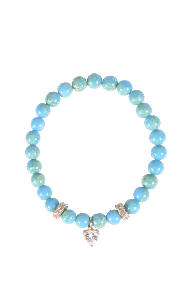 Blue Beaded Stretch Bracelet with Hanging Jewel