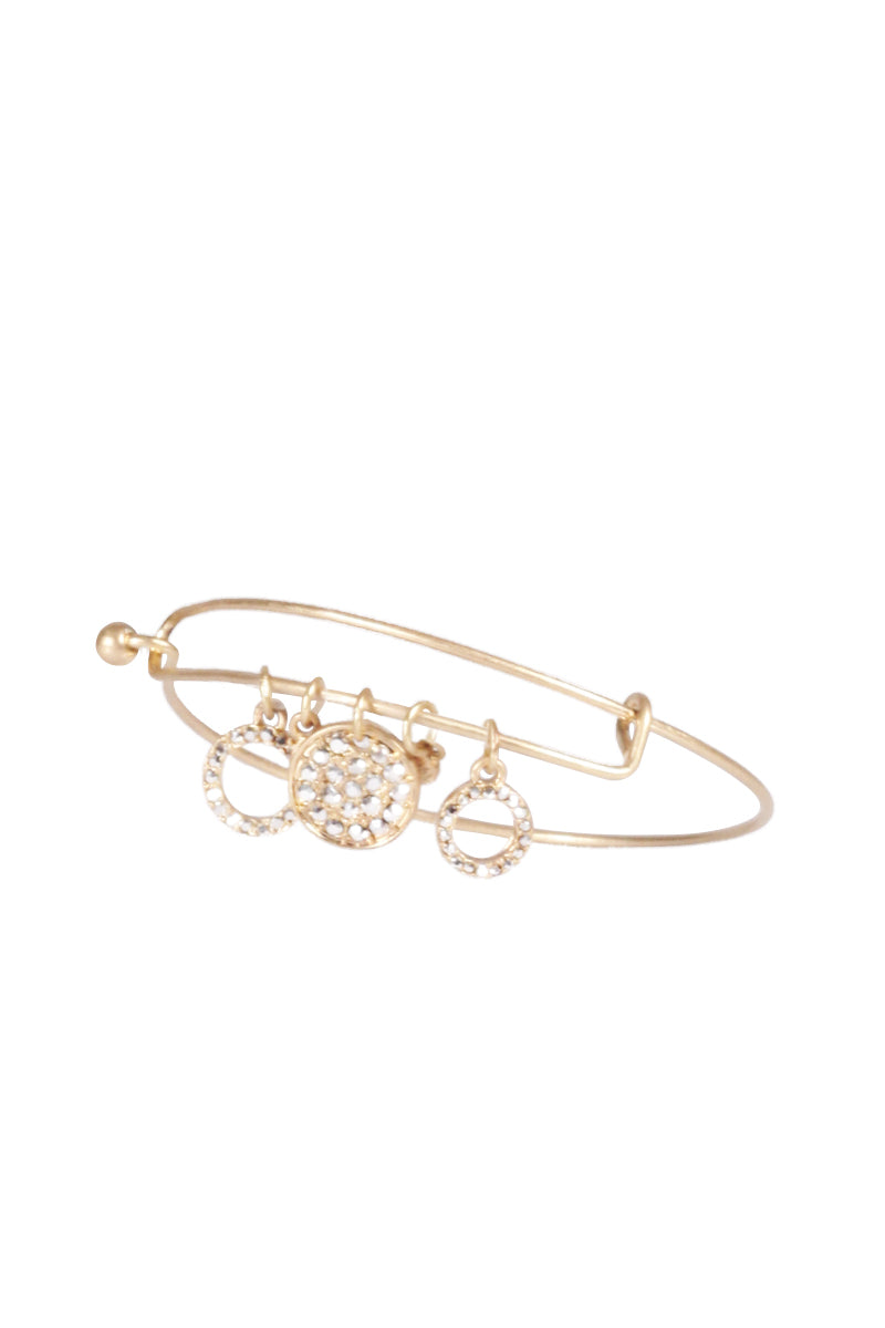 Gold Bangle with Diamante Charms