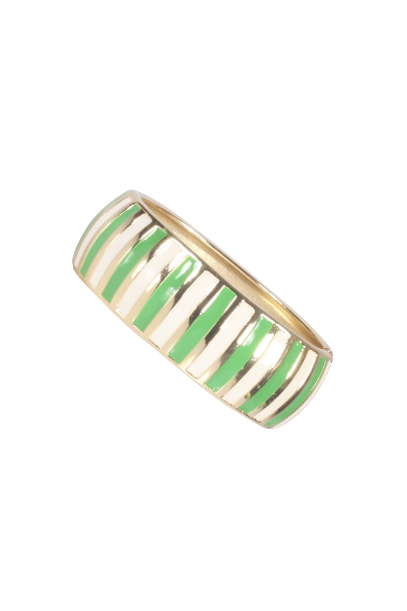 Green and White Striped Bangle