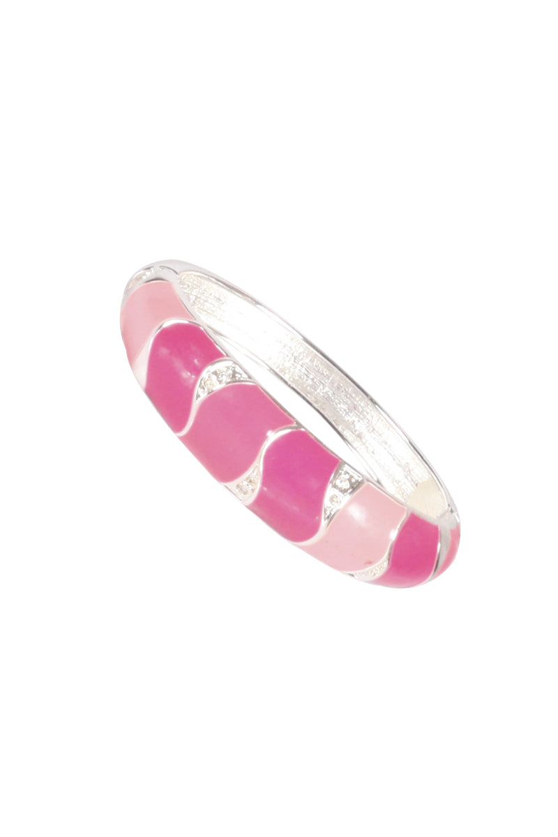Pink Striped Enamel Bangle