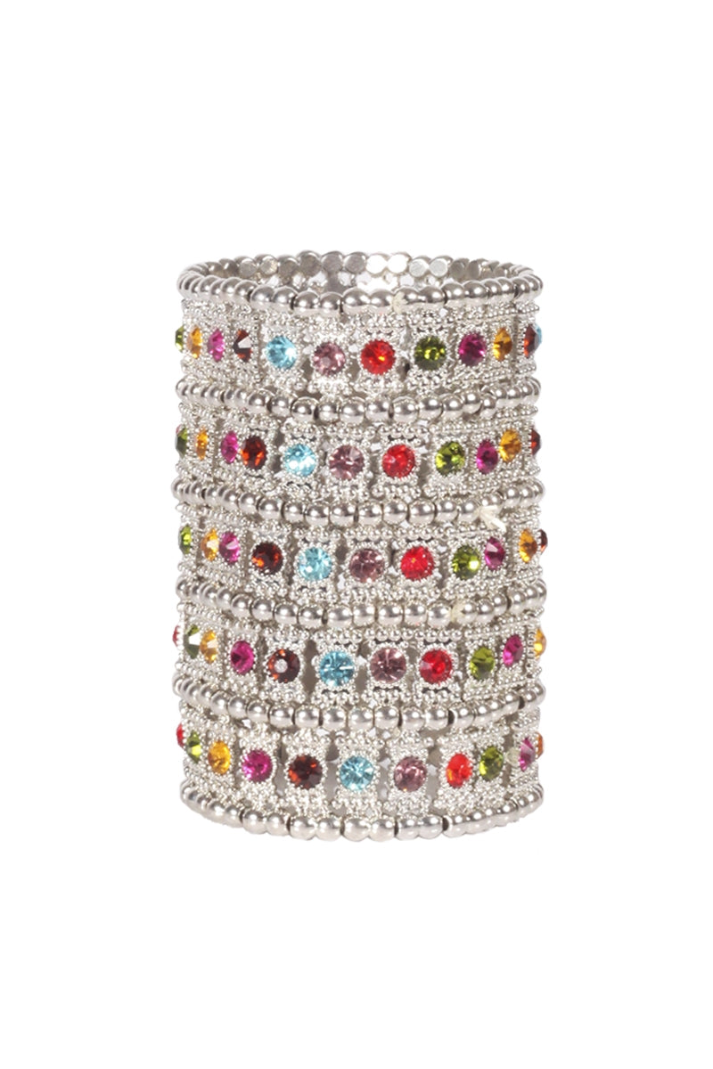 Oversized Multicolour Bejewelled Cuff