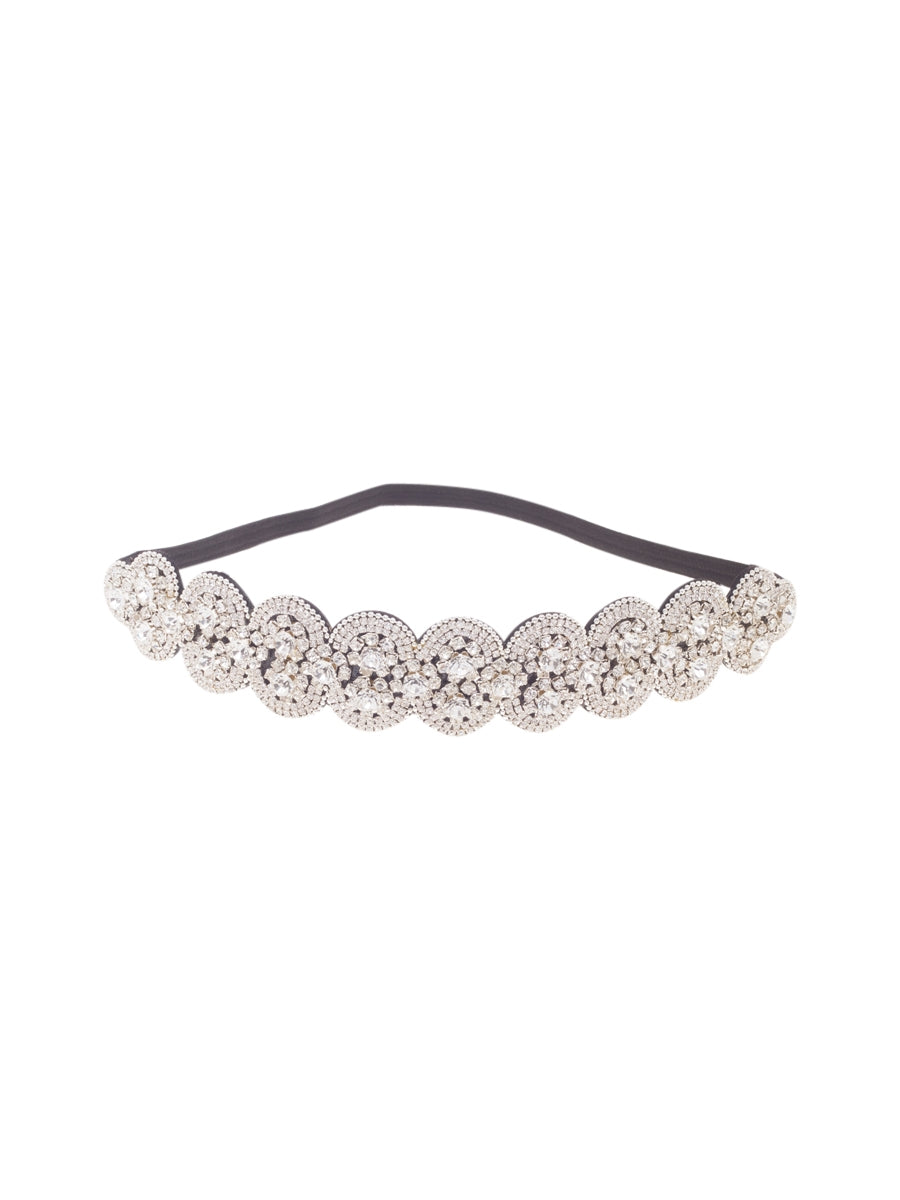 Bejewelled Silver Circular Party Headband
