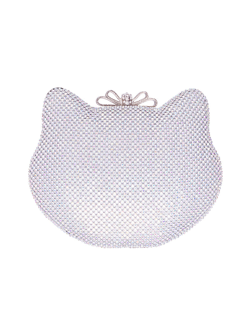 Silver Cat Shaped Clutch Bag
