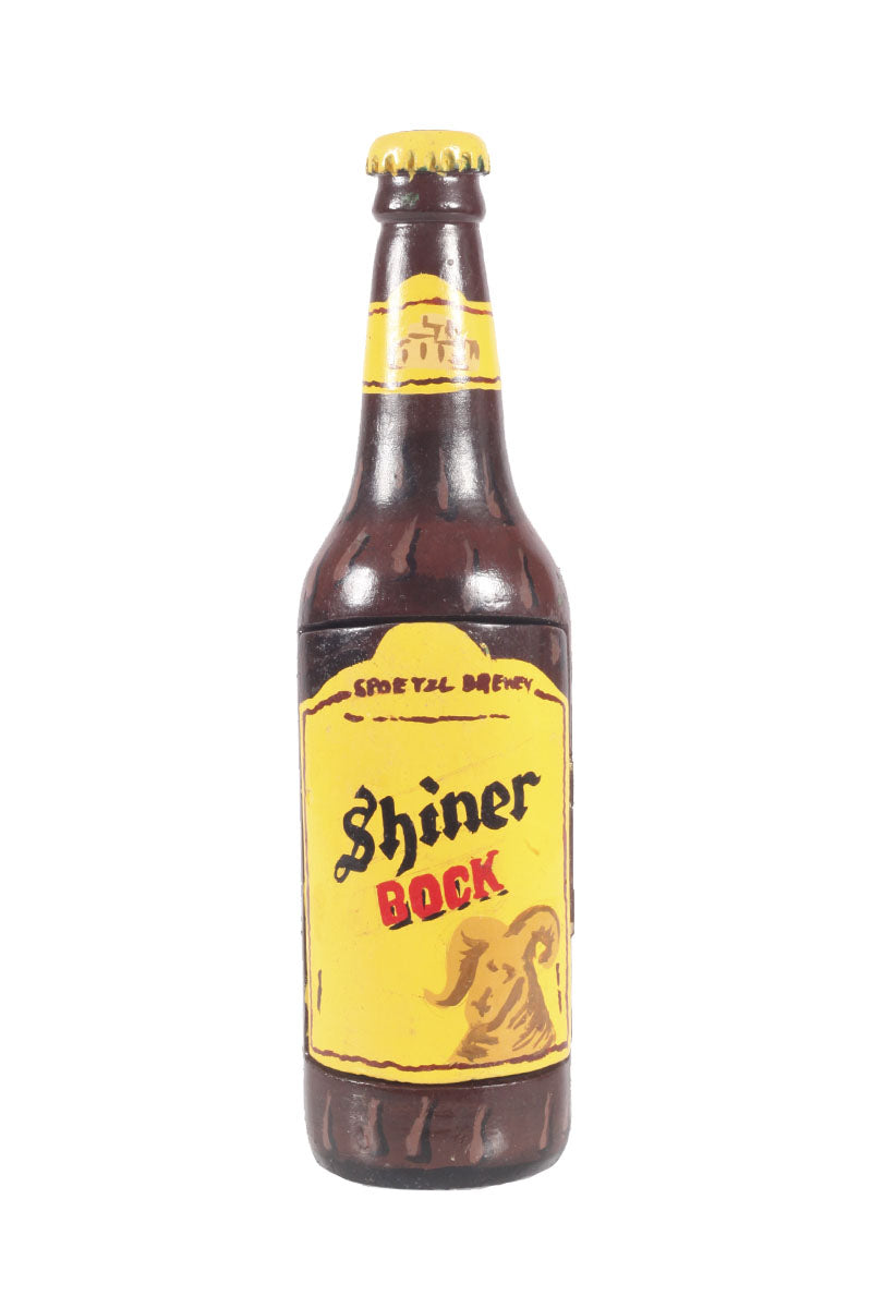 Wooden 'shiner bock' bottle with compartment
