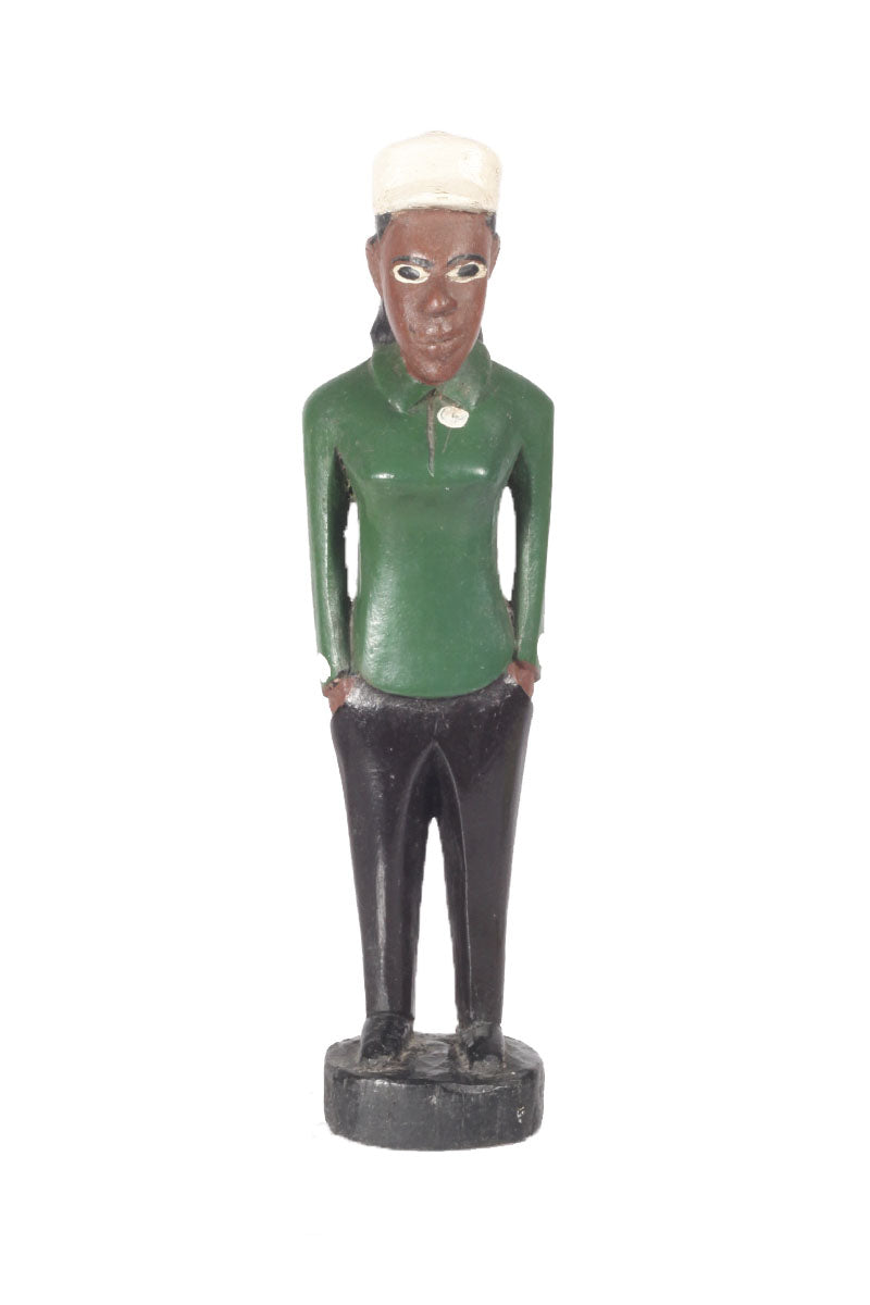 Wooden Ghana Figurine Woman in Green