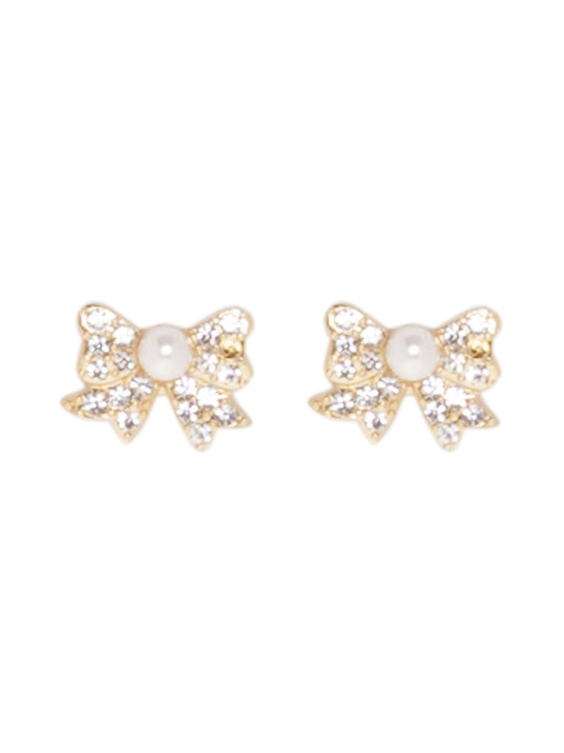 Golden Bow Studs with Pearl and Diamante Detailing